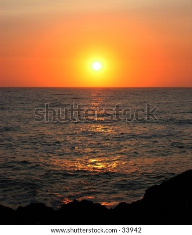 Sunset at Shelter Cove, CA - stock photo