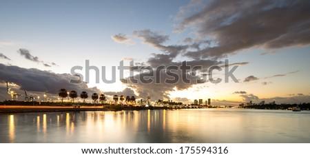 sunset at Star island, Miami - stock photo