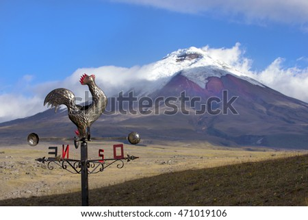 Sunset at still active Cotopaxi Volcano in Cotopaxi National Park, Ecuador