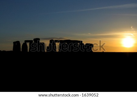 Sunset at Stonehenge #2 - stock photo