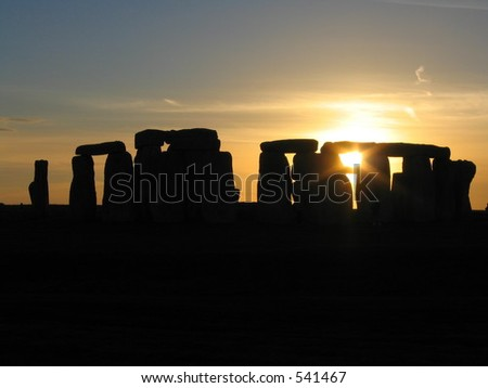 Sunset at Stonehenge - stock photo