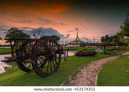 Sunset at suanluang rama 9. Suanluang Rama IX The public park and the largest botanical garden in Bangkok on twilight time,Nature Landscape - stock photo