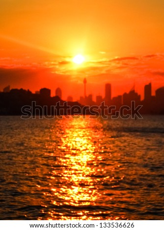 Sunset at Sydney city with golden sky - stock photo