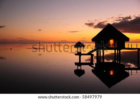 sunset at tahiti - stock photo