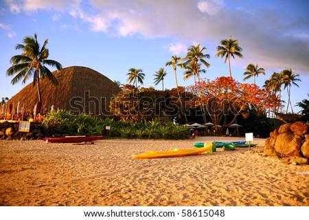 sunset at tahiti - stock photo