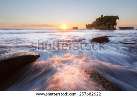 Sunset at Tanah Lot temple, Bali, Indonesia - stock photo