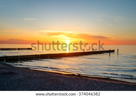 Sunset at the Baltic Sea in Germany - stock photo