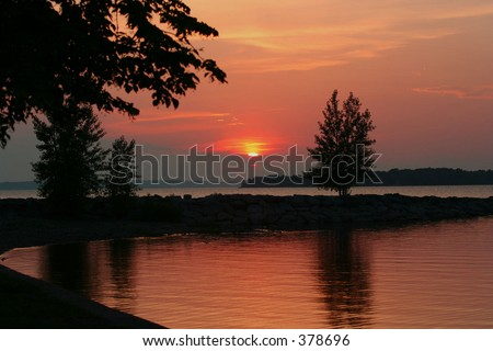 Sunset at the bay - stock photo