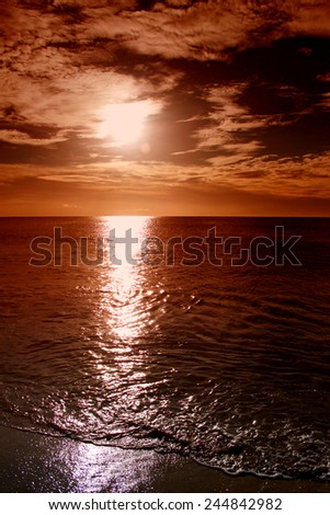Sunset at the beautiful tropical paradise island, Cape Verde - stock photo