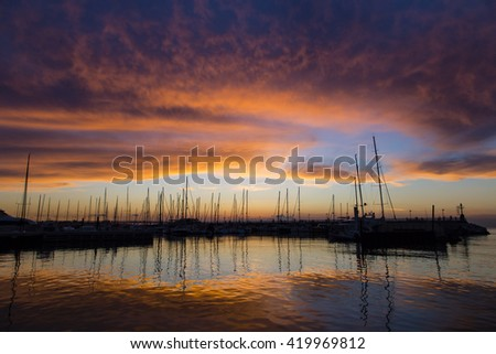 Sunset at the boats