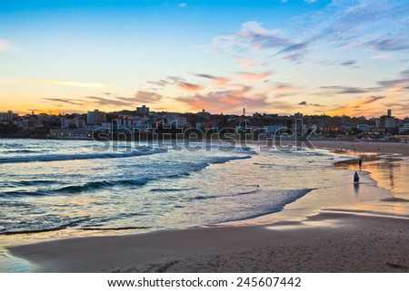 Sunset at the bondi beach, australia