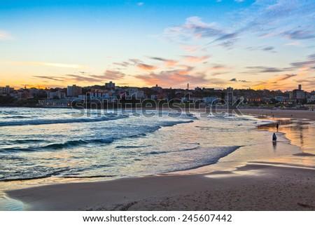 Sunset at the bondi beach, australia  - stock photo