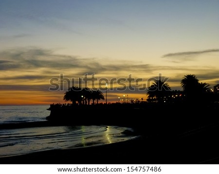 Sunset at the capital city of Uruguay. - stock photo