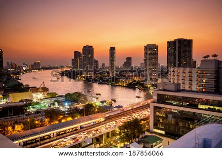 sunset at the  downtown of the Bangkok. - stock photo