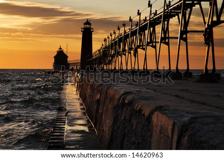 Sunset At The Grand Haven South Pierhead Lighthouse, Michigan - stock photo