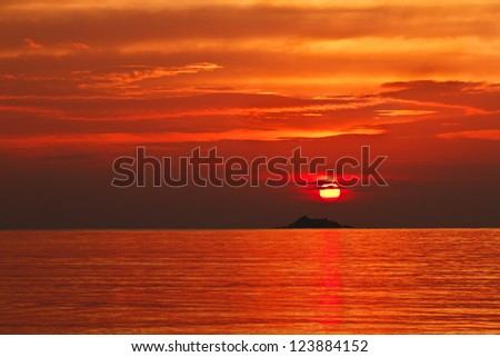 Sunset at the Ko Phangan island, Thailand - stock photo
