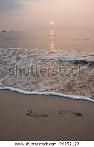 sunset at the lava beach in Hawaii Big Island - stock photo