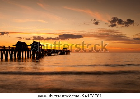 Sunset at the Naples Pier in Naples, Florida - stock photo