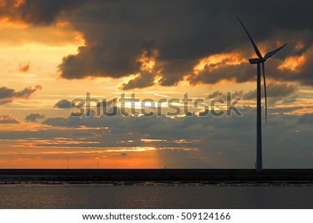 Sunset at the north sea in the netherlands