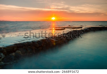 Sunset at the Old Bridge in Pattaya,Thailand - stock photo