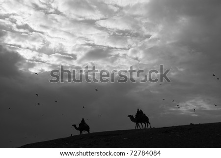 Sunset At the pyramids - stock photo