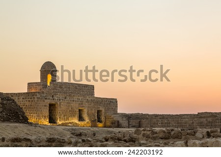 Sunset at the recontructed Bahrain Fort near Manama at Seef, Bahrain - stock photo