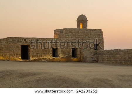 Sunset at the recontructed Bahrain Fort near Manama at Seef, Bahrain