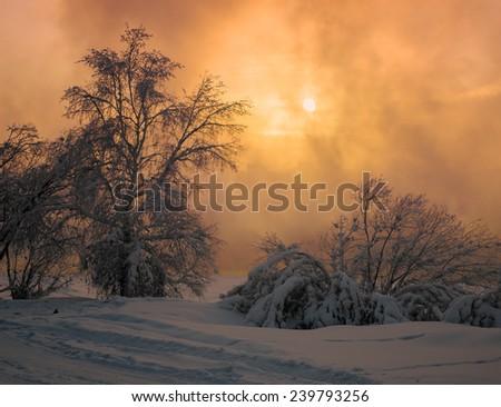 Sunset at the river Angara in town Irkutsk - stock photo