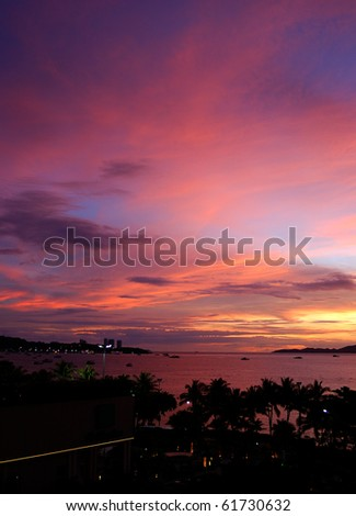 Sunset at the seafront of Pattaya, Thailand - stock photo