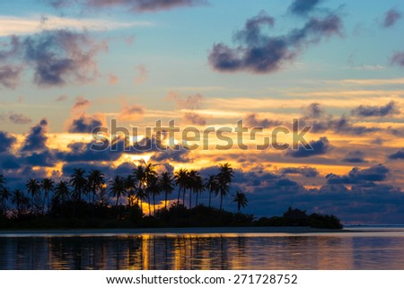 Sunset at the seaside, dark silhouettes of palm trees and amazing cloudy sky - stock photo