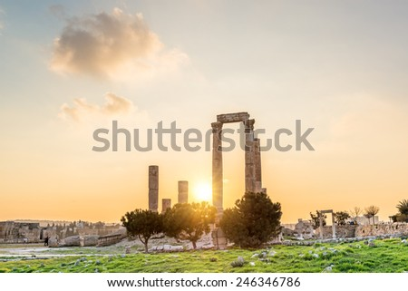 Sunset at the Temple of Hercules at Amman Citadel in Amman, Jordan. Amman Citadel is known in Arabic as the Jabal al-Qal'a. - stock photo