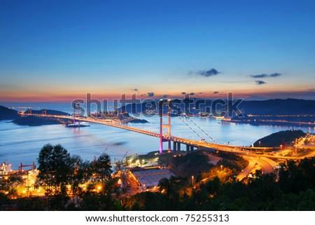 Sunset at Tsing Ma Bridge - stock photo