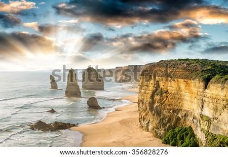 Sunset at Twelve Apostles, Victoria - Australia - stock photo