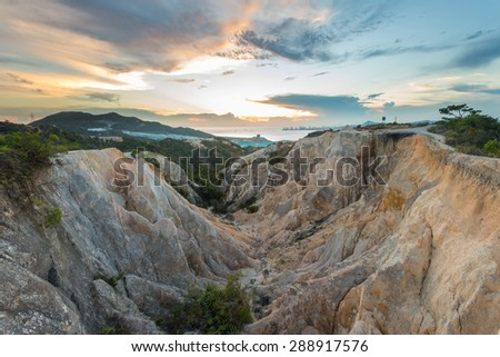 Sunset at valley with colorful rock in Hong Kong - stock photo