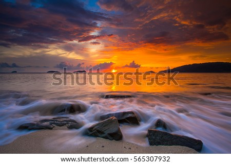 Sunset at Vista Beach, North Borneo, Malaysia