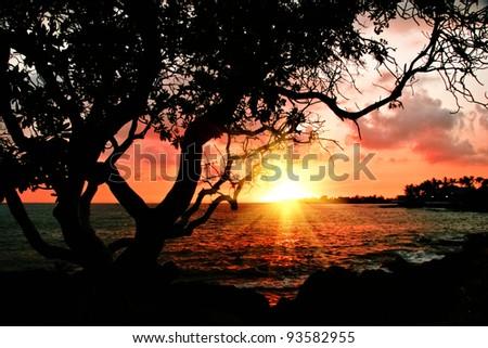 Sunset at volcanic stones beach. Big island. Hawaii - stock photo