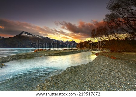 Sunset at Wilson Bay Queenstown New Zealand.
