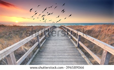 sunset at wooden beach way, romantic summer landscape