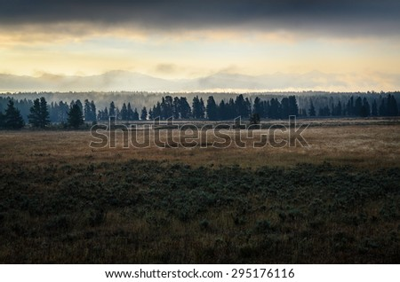 Sunset at Yellow Stone National Park - stock photo
