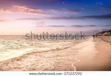 Sunset Australia Kaleidoscope Colours beach sea ocean sand sun - stock photo