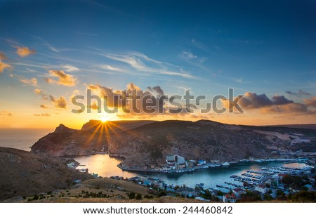 sunset Balaklava bay view from the top - stock photo