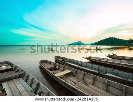 Sunset Bang Pra Reservoir, Chonburi, Thailand. - stock photo