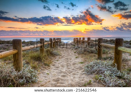 Sunset beach in Gabo de Gata, Almeria, Spain. -This photo made by hdr technic - stock photo