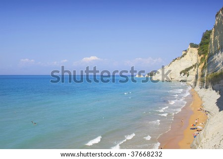 Sunset beach near Sidari on Corfu island in Greece
