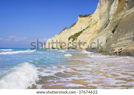 Sunset beach near Sidari on Corfu island in Greece - stock photo