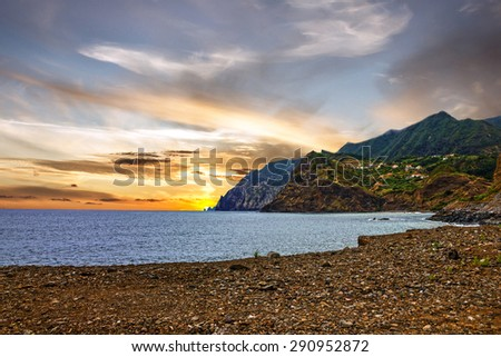 Sunset beach ocean view, Madeira, Portugal - stock photo