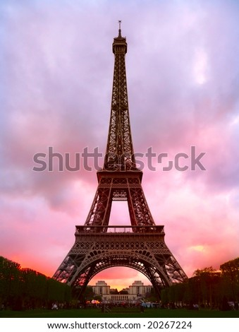 Sunset behind Eiffel tower