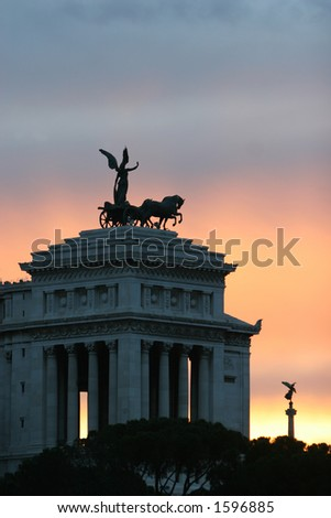 Sunset behind the Piazza, Fantastic Skyline - stock photo