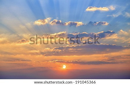 Sunset. blue sky and clouds. - stock photo