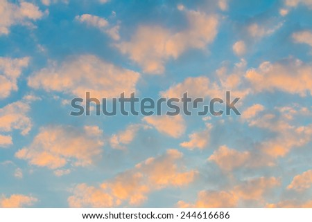 Sunset. blue sky and clouds background